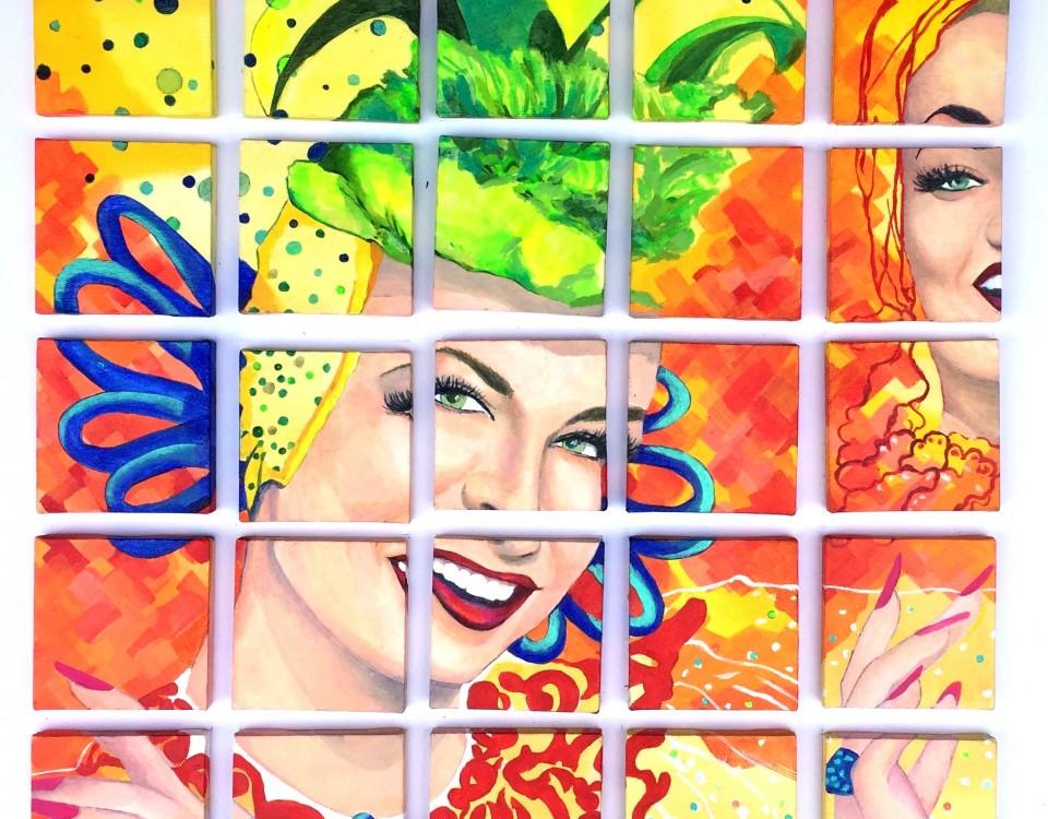 Cris Denise - CARMEN DO BRASIL, 25 telas de 12x12 cm, pintura acrílica sobre tela. 60x60cm - Ano 2017
